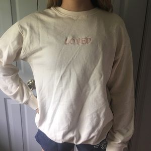 zara LOVED cream crewneck